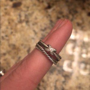 David Yurman X-collection ring with diamonds